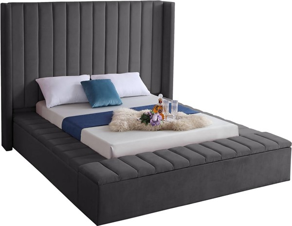 Design Edge Ungarie  Grey Velvet Queen Bed DE-23274143