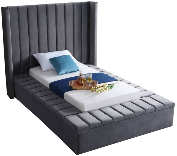 Design Edge Ungarie  Grey Velvet Twin Bed DE-23274153