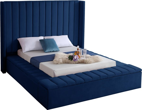Meridian Furniture Kiki Navy Velvet Full Bed MRD-KikiNavy-F