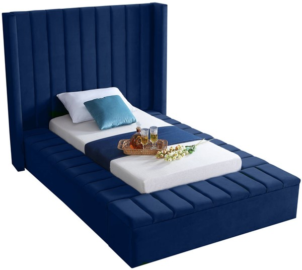 Meridian Furniture Kiki Navy Velvet Twin Bed MRD-KikiNavy-T