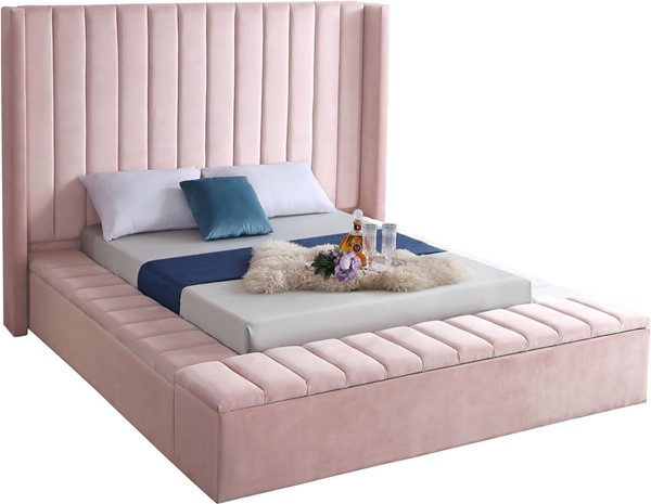 Meridian Furniture Kiki Pink Velvet Queen Bed MRD-KikiPink-Q