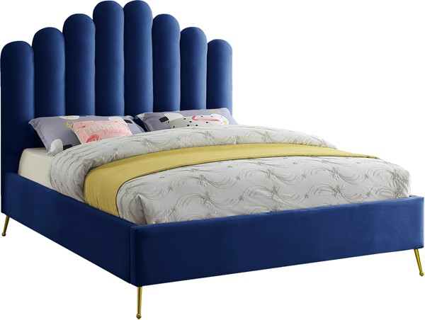 Meridian Furniture Lily Navy Velvet Full Bed MRD-LilyNavy-F