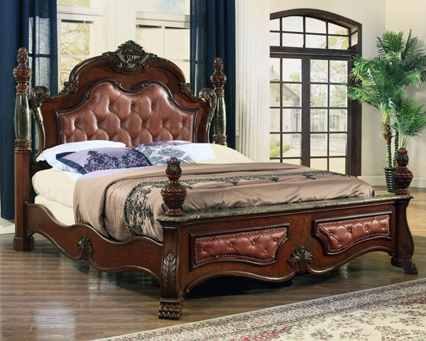 Luxor Cherry Tufted Bonded Leather Hand Carved Designs Queen Bed MRD-Luxor-Q