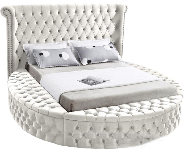 Meridian Furniture Luxus Cream Velvet King Bed MRD-LuxusCream-K