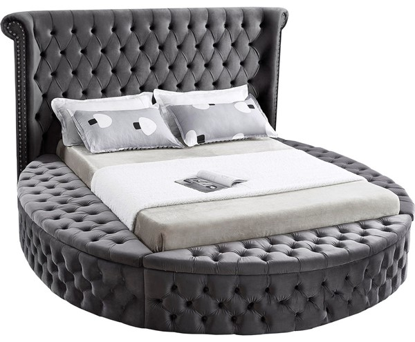 Meridian Furniture Luxus Grey Velvet King Bed MRD-LuxusGrey-K