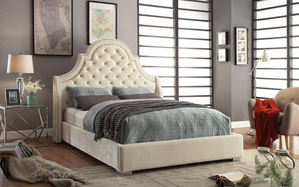 Madison Cream Velvet Detailed Deep Tufting Chrome Nailheads Beds MRD-MADISON-BEDS