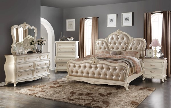 Marquee Traditional Pearl White Bonded Leather Master Bedroom Set Bedrooms The Classy Home