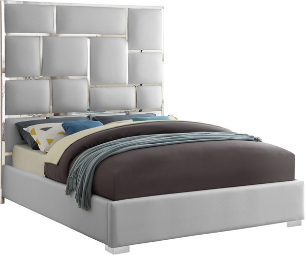 Meridian Furniture Milan White Faux Leather Queen Bed MRD-MilanWhite-Q