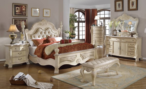 Monaco Antique White Tufted Bonded Leather Master Bedroom Set MRD-MONACO-BR