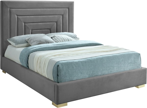Meridian Furniture Nora Grey Velvet King Bed MRD-NoraGrey-K