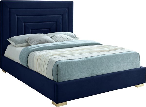 Meridian Furniture Nora Navy Velvet Full Bed MRD-NoraNavy-F