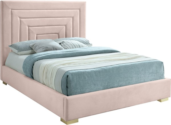 Meridian Furniture Nora Pink Velvet Queen Bed MRD-NoraPink-Q