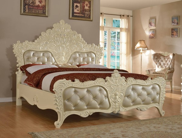 Novara Traditional Pearl White Tufted Bonded Leather Queen Bed MRD-Novara-Q