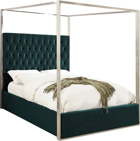 Design Edge Calliope  Green Velvet Queen Bed DE-22250444