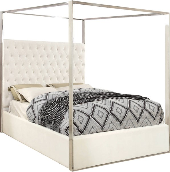 Design Edge Calliope  White Velvet Queen Bed DE-22250504