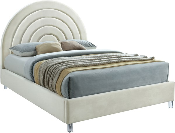Meridian Furniture Rainbow Cream Velvet Queen Bed MRD-RainbowCream-Q