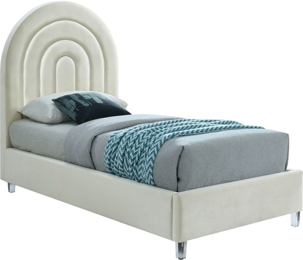 Meridian Furniture Rainbow Cream Velvet Twin Bed MRD-RainbowCream-T