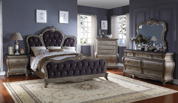 Roma Antique Silver Velvet Granite Master Bedroom Set MRD-ROMA-BR