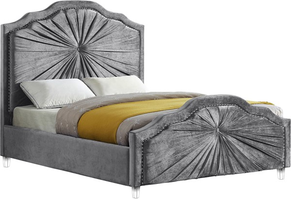 Meridian Furniture Rosie Grey Velvet Full Bed MRD-RosieGrey-F