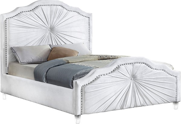 Meridian Furniture Rosie White Velvet Queen Bed MRD-RosieWhite-Q