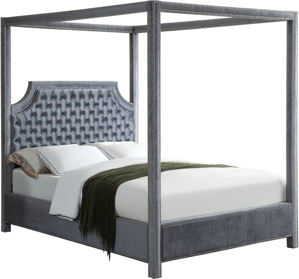 Meridian Furniture Rowan Grey Velvet Queen Bed MRD-RowanGrey-Q