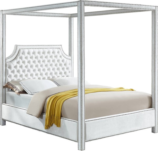 Meridian Furniture Rowan White Velvet King Bed MRD-RowanWhite-K