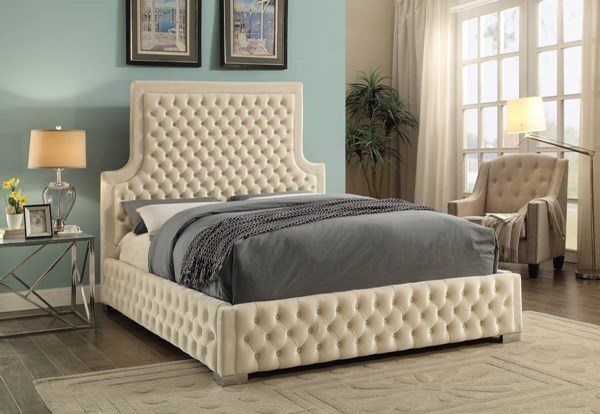 Sedona Cream Velvet Detailed Deep Tufting Chrome Legs King Bed MRD-SedonaCream-K