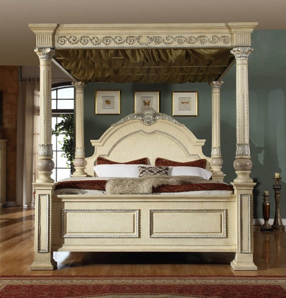 Sienna Antique White Solid Wood Queen Post Canopy Bed MRD-Sienna-Post-Q