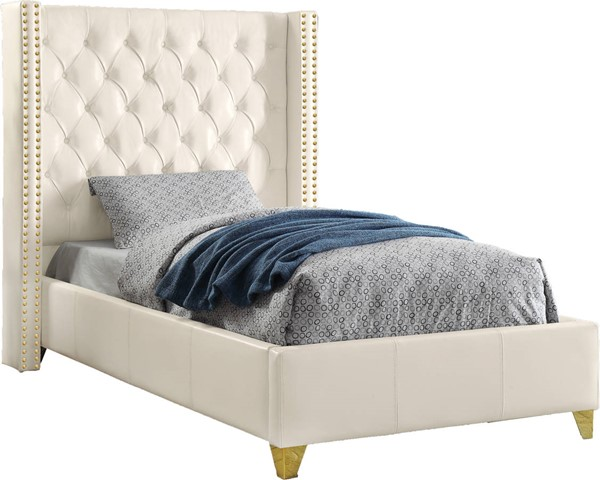Meridian Furniture Soho White Bonded Leather Twin Bed MRD-SohoWhite-T