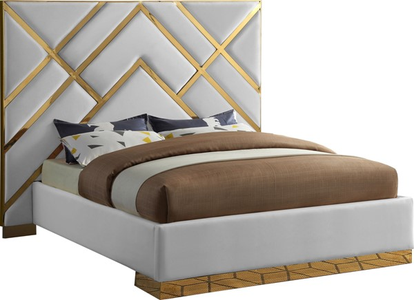 Meridian Furniture Vector White Faux Leather Queen Bed MRD-VectorWhite-Q