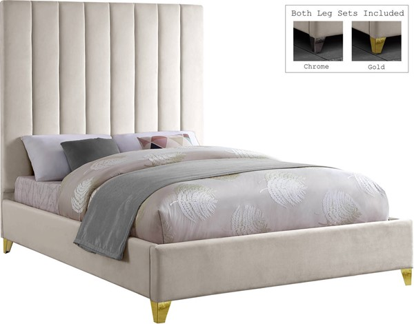 Meridian Furniture Via Cream Velvet Full Bed MRD-ViaCream-F