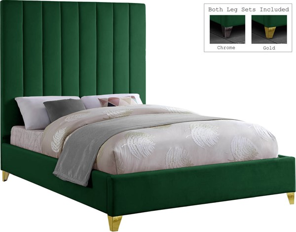 Design Edge Hebel  Green Velvet Full Bed DE-23274336