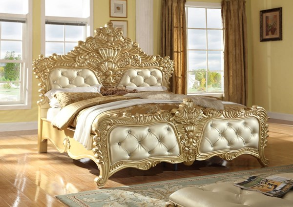 Zelda Gold Bonded Leather Elegant French Provincial Crafted King Bed MRD-Zelda-K