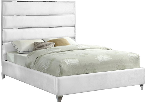 Design Edge Kilcoy  White Velvet King Bed DE-22612836