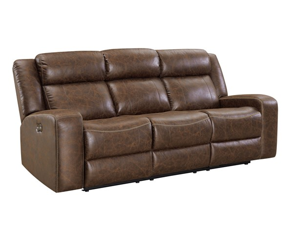 New Classic Furniture Atticus Mocha Power Headrest Footrest Dual Recliner Sofa NCF-U2413-30P2-MCB