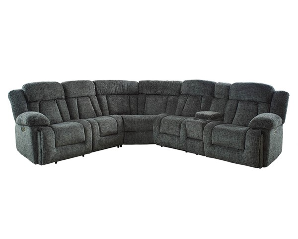 New Classic Furniture Laura Pewter 6pc Sectional with Power Headrest NCF-22-2265-JCT-SEC-S2