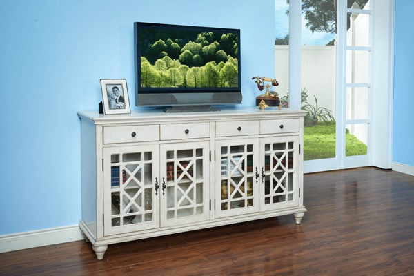 New Classic Furniture Marceline Antique White Accent TV Stands NCF-TA355-72-AWH