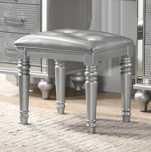 New Classic Furniture Valentino Silver Vanity Table Stool NCF-BA9698S-092