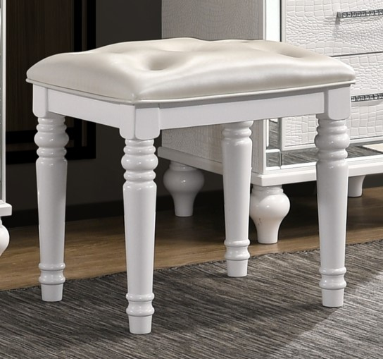 New Classic Furniture Valentino White Vanity Table Stool NCF-BA9698W-092