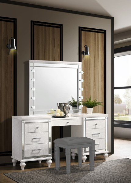 New Classic Furniture Valentino White Vanity Desk With Mirror NCF-BA9698W-90-VNTY-DSK