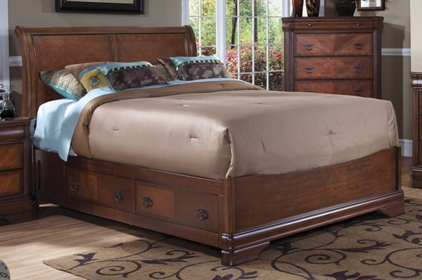 New Classic Furniture Sheridan Burnished Cherry Storage Bed NCF-BH005-QS-BED-VAR2
