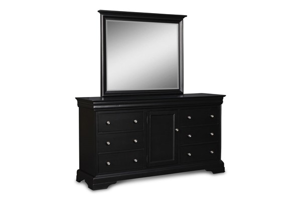 New Classic Furniture Belle Rose Black Dresser and Mirror NCF-BH013-50-60-DRMR