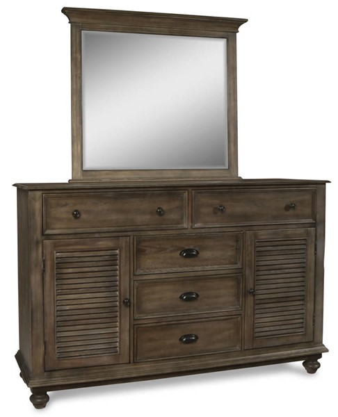 New Classic Furniture Lakeport Pewter Dresser And Mirror NCF-BJ220P-50-60-DRMR