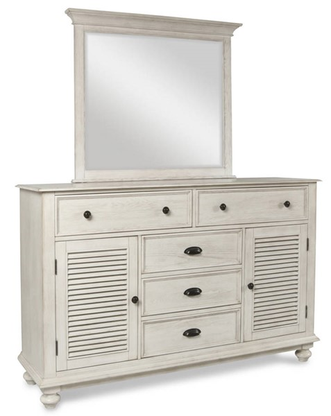 New Classic Furniture Lakeport Driftwood Dresser And Mirror NCF-BJ220W-50-60-DRMR