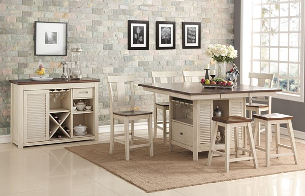 New Classic Furniture Heather Weathered White 7pc Bar Set NCF-D1309-12-BAR-S1