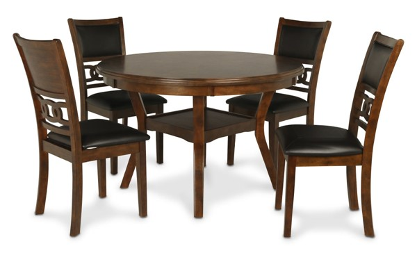 New Classic Furniture Gia Brown Round 5pc Dining Set NCF-D1701-50S-BRN