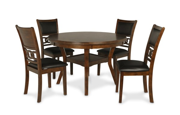 New Classic Furniture Brown Gia 5pc Round Dining Room Set NCF-D1701-50S-BRN