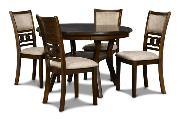 New Classic Furniture Cherry Gray 5pc Round Dining Room Set NCF-D1701-50S-DR-VAR
