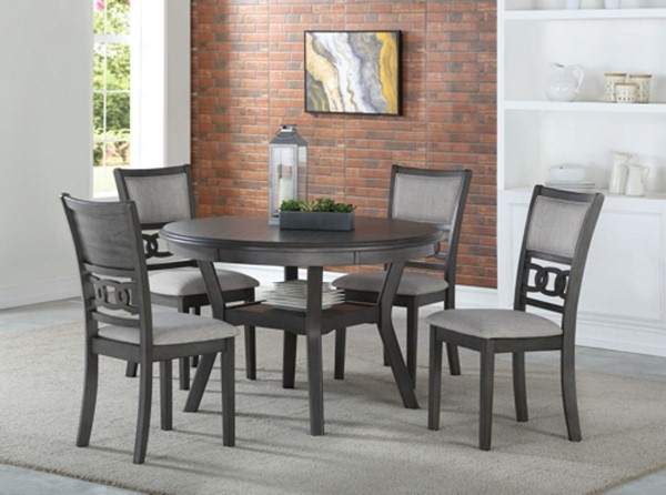 New Classic Furniture Gray Gia 5pc Round Dining Room Set NCF-D1701-50S-GRY