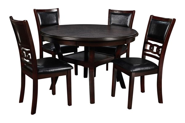 New Classic Furniture Ebony Gia 5pc Round Dining Room Set NCF-D1701-50S